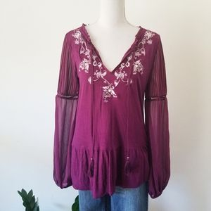 WHBM Purple Floral Embroidered Peasant Blouse M